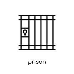 Prison icon. Trendy modern flat linear vector Prison icon on white background from thin line law and justice collection, editable outline stroke vector illustration