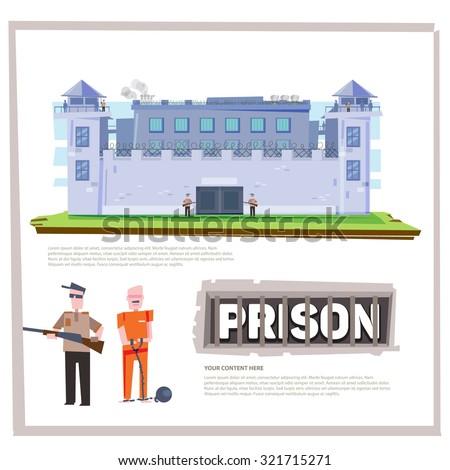 Prison Jail Penitentiary Building with prisoner and officer prisoner. typographic deign character design - vector illustration