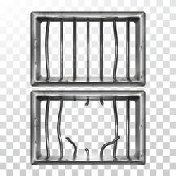 Prison Window And Broken Metallic Bars Set Vector. Damaged Prison Metal Steel Lattice. Gaol Jail Security Grunge Iron Grid, Confine Cage Realistic Illustrations