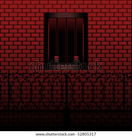 Prisoner grips the bars of his prison cell - stock vector