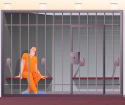 Prisoner sitting in cell in police station or prison. Security department office vector illustration. Young man on bench in jail behind bars. Horizontal indoor view of building.