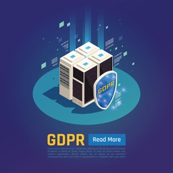 Privacy data protection gdpr isometric background with images of data servers with shield button and text vector illustration