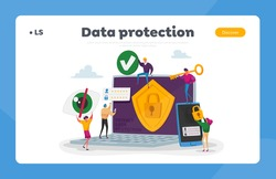 Privacy Data Protection in Internet, Virtual Private Network Landing Page Template. Tiny Characters around of Huge Laptop with Shield and Lock on Screen, Security. Cartoon People Vector Illustration