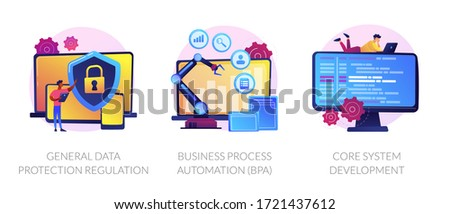 Privacy law, digital transformation, programming. General data protection regulation, business process automation, core system development metaphors. Vector isolated concept metaphor illustrations
