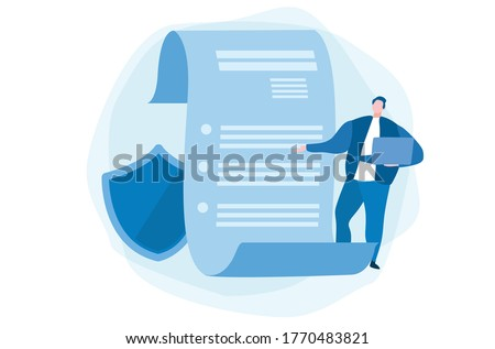 Privacy policy, Corporate document.  Data protection. Vector illustration for web banner, infographics, mobile.  Stock photo ©