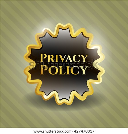 Privacy Policy golden badge or emblem