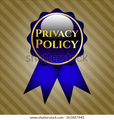 Privacy Policy golden emblem or badge