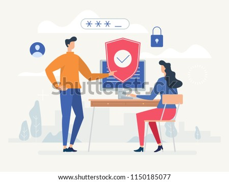 Privacy policy. Protecting your privacy. Vector colorful illustration, the concept of protecting computer data for a web page Сток-фото ©