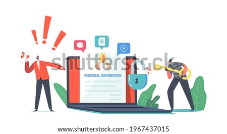 Privacy Violation, Doxing Concept. Hacker Male Character Gathering Personal Information in Social Network. Internet Harassment, Personal Sensitive Data Publication. Cartoon People Vector Illustration Stockfoto ©