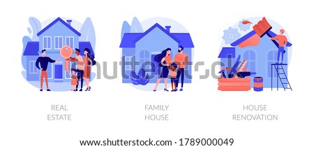 Private and commercial property market abstract concept vector illustration set. Real estate agency, family house, house renovation, home ownership, property value, mortgage loan abstract metaphor. Photo stock ©