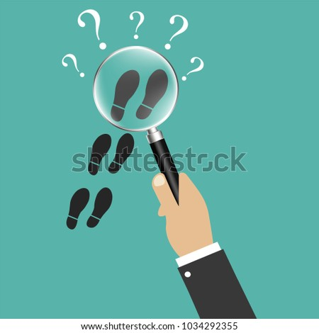 Private detective. Follow somebody closely. Detective magnifying glass. Detective agency. Follow in the tracks of somebody. Vector illustration