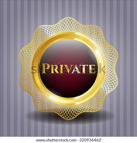 Private gold shiny emblem
