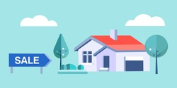 Private house for sale. Real estate sale banner, real estate agency sells a private house. Vector illustration concept for real estate, sale, rental.
