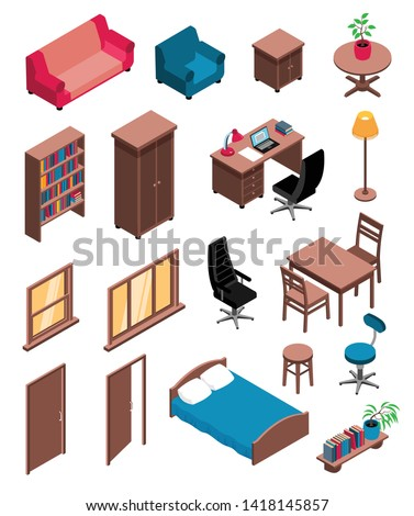 Private interior items isometric icons set with sofa table dresser chair desk floor lamp vector illustration stock photo