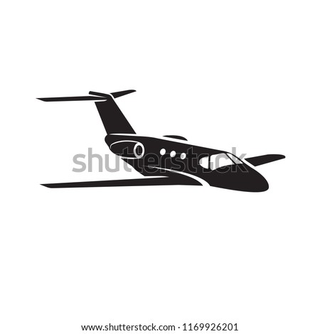 Private jet vector icon. Business jet illustration. Luxury twin engine plane
