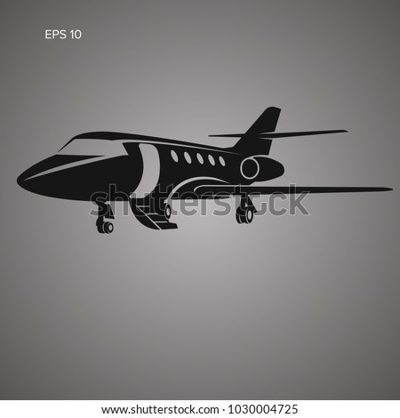 Private jet vector icon. Business jet illustration. Luxury twin engine plane standing on the ground