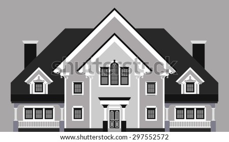 private mansion isolated on gray background