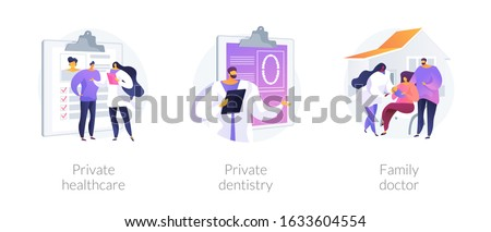 Private medical services abstract concept vector illustration set. Private healthcare, dentistry, family doctor practitioner. Non-governmental general medical treatment, primary care abstract metaphor