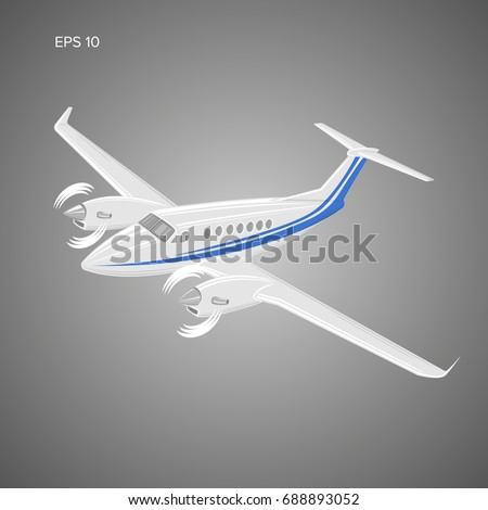 Private plane vector illustration. Twin engine propelled aircraft. Vector illustration.