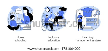 Private schooling curriculum abstract concept vector illustration set. Homeschooling, inclusive education, learning management system, online tutor, individual plan, mobile device abstract metaphor.