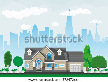 Private suburban house with trees, cityscape, sky and clouds. Vector illustration in flat style