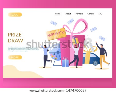 Prize draw vector website template, web page and landing page design for website and mobile site development. Raffle drum with balls and lucky people winning prizes gift box, automobile, money.