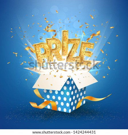 PRIZE gold text. Open textured blue box with confetti explosion inside and golden  winning word. Flying particles from giftbox vector illustration on blue background