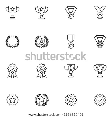 Prize icons set vector graphic illustration