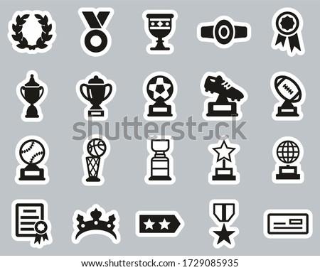Prize Or Trophy Icons Black & White Sticker Set Big