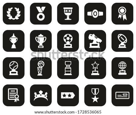 Prize Or Trophy Icons White On Black Flat Design Set Big