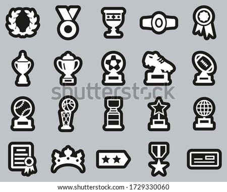 Prize Or Trophy Icons White On Black Sticker Set Big