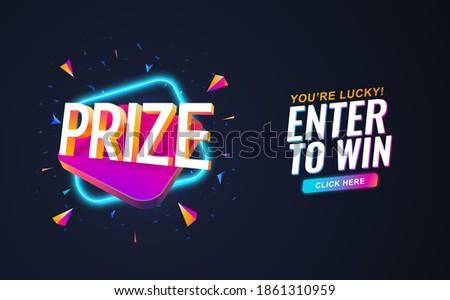 Prize retro 90s style on dark background. Winning prizes vector illustration. Gambling raffles banner template