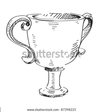 Prize trophy icon. Hand drawing cartoon sketch illustration in childish doodle style