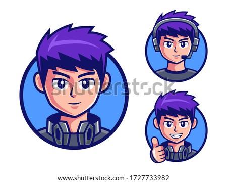pro gamers teenage boy logo