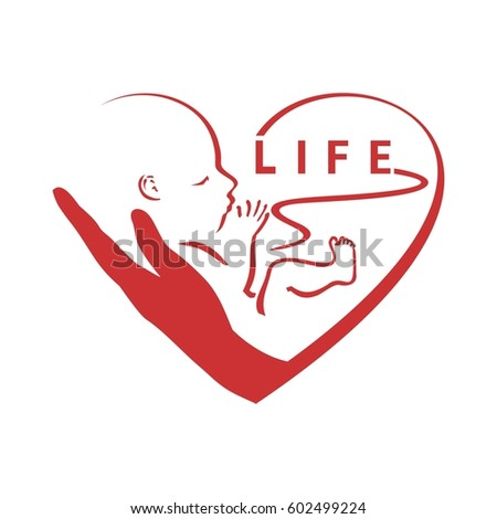 Pro - life, embryo in hand, surrounded by heart , logo