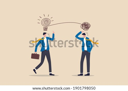 Proactive and reactive thinking, chaos and order theory or simplify idea to solve difficulty problems concept, businessmen discussing work using creativity solving messy line into light bulb idea. Photo stock ©