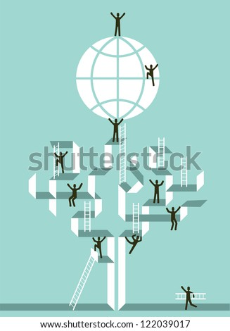 Proactive teamwork to global business success concept tree illustration. Vector file layered for easy manipulation and custom coloring.