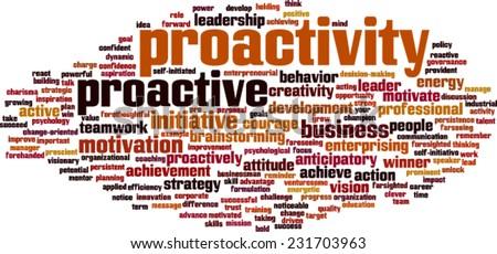 Proactivity word cloud concept. Vector illustration