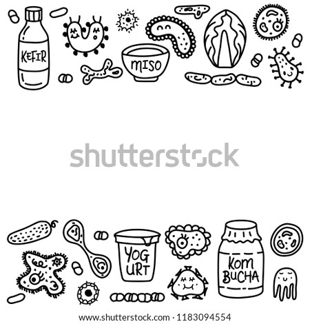 Probiotics bacteria, food and medicine set. Template with text. Gut bacterial flora. Fermentation products. Vector icon and logo. Microbiology background. Healthy nutrition ingredients.