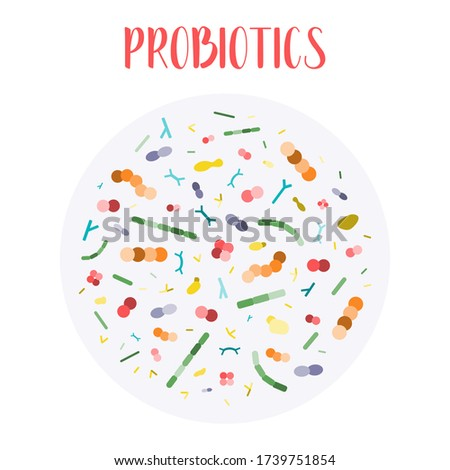 Probiotics. Lactic acid bacteria. Good bacteria and microorganisms for gut and intestinal flora health. Microbiome. Bifidobacterium, lactobacillus,  lactococcus, thermophilus streptococcus. Vector set Stock photo ©