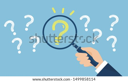 problem and idea image,holding magnifying glass,vector illustration Foto stock ©