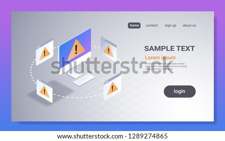 problem computer application software error concept 3d isometric technology exclamation mark icon pc monitor screen alert warning notification horizontal copy space