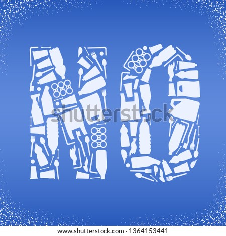 Problem plastic pollution. Ecological poster. Word NO composed of white plastic waste bag, bottle on blue background. Stock photo ©