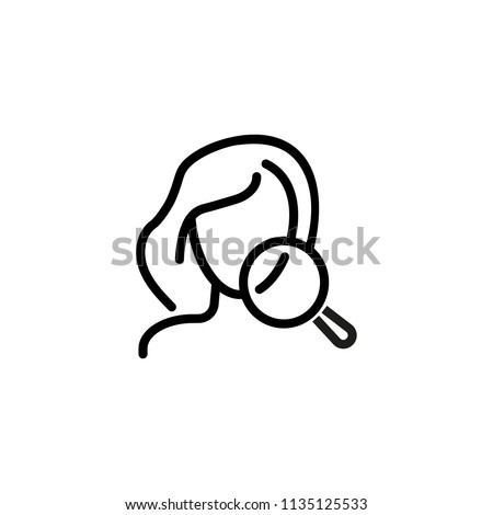 Problem skin line icon. Face, woman, magnifier, examining. Beauty care concept. Can be used for topics like spa salon, skincare, cosmetology, dermatology