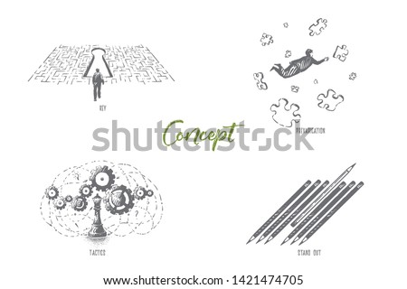 Problem solution, puzzle solving, prevarication, tactics and logical thinking, uniqueness, surreal conceptions banner. Abstract ideas and metaphors concept sketch. Hand drawn vector illustration