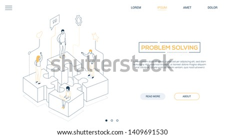 Problem solving - line design style isometric web banner on white background with copy space for text. Header with male, female business people, colleagues standing on puzzle pieces. Teamwork concept