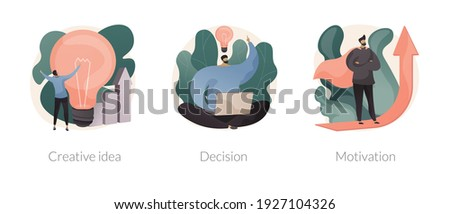 Problem solving skills abstract concept vector illustration set. Creative idea, decision making and motivation, boost creativity, business leadership, achievement and success abstract metaphor. Foto stock ©