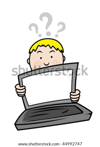 Problem with laptop - stock vector