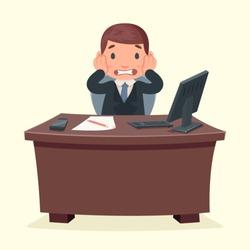 Problems disaster shock businessman character work office desktop design vector illustration