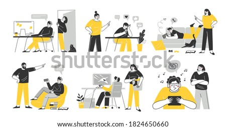 Problems of relations between teenagers and their parents. Dependence on gadgets. Ignoring teenagers of their parents. Vector Illustration